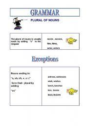 worksheet plural of nouns exceptions