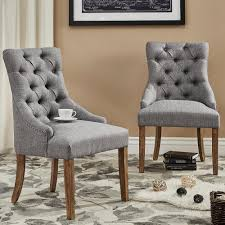 Tufted Dining Chair Safavieh Lester Grey Polyester Blend Dining Chair Set Of 2