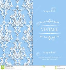 Invitation Card Samples Vector Blue 3d Vintage Invitation Card Template With Floral Damask