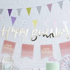 Gold And Pink Party Decorations Pink U0026 Gold Happy Birthday Banner Bunting Photo Prop Vintage Party