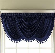 Blue Valances Window Treatments Navy Blue Hyatt Waterfall Valance Moshells