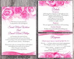 pink wedding invitations diy watercolor wedding invitation template set editable word file