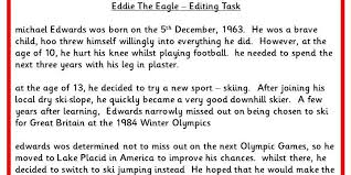 Editing And Proofreading Worksheets Eddie The Eagle Editing Task Classroom Secrets