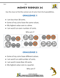 money math worksheets money riddles
