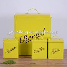 tin kitchen canisters fda kitchen square yellow bread box coffee tea sugar tin pot metal