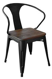 Black Metal Chairs Dining Loft Black Metal Dining Chair With Wood Seat Set