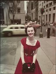 lady in a red dress new york city 1950s 50s found photo print