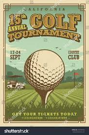 Golf Tournament Flags Vintage Golf Poster Golf Ball Golf Stock Vector 345974456