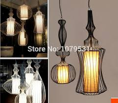 Wrought Iron Pendant Light Black U0026 White Wires Wrought Iron Pendant Lights Linen Silk Shade