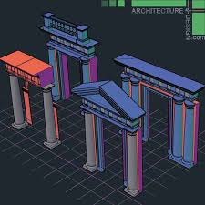 Architectural Pediment Design 3d Objects Of Classical Architecture Facades For Autocad