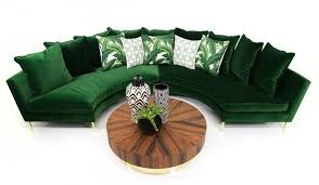 round sectional in emerald velvet modshop