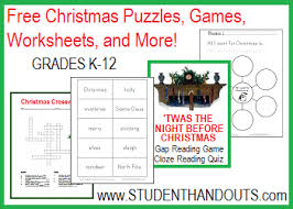 christmas k 12 activities and worksheets student handouts