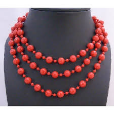 red big necklace images Beaded fancy striking red big small bead 54 inches long necklace jpg