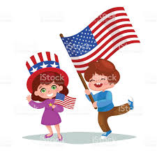 Holding The Flag American Children Holding American Flags American Patriots Stock