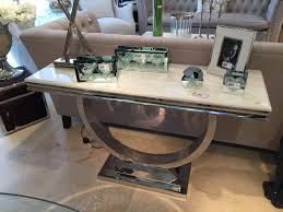 cream marble and chrome u shaped console consoles marbles and