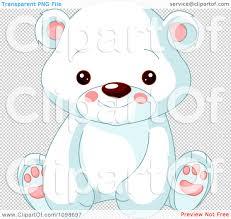 clipart cute polar bear cub sitting and smiling royalty free