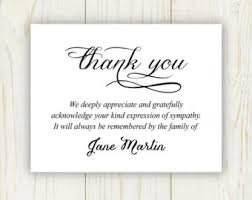 funeral thank you notes thank you sympathy etsy