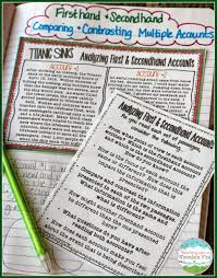 Fiction Vs Nonfiction Worksheet Teaching With A Mountain View Analyzing Firsthand And Secondhand