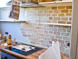 Backsplash For White Kitchen Cabinets Interior Good Looking Brown Color Bricks Kitchen Backsplash