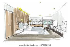 home design drawing home interior furniture sofa armchair table stock illustration