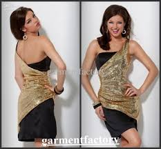 latest one shoulder gold sequined fabric overlay black cocktail