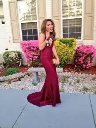 burgundy v neck open back mermaid satin prom dresses 2017