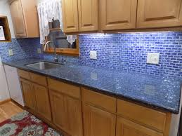 stunning blue recycled glass tile kitchen