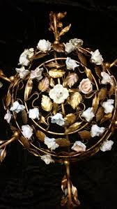 porcelain chandelier roses gorgeous antique gilt metal tole porcelain roses vintage basket