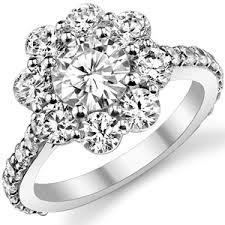 flower engagement rings forever brilliant moissanite flower halo engagement ring