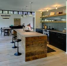 reclaimed oak wood for tall kitchen island also playful dramatic