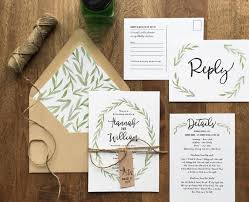 printed wedding invitations rustic wedding invitation woodland wedding painted watercolor