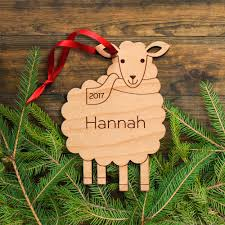 sheep wooden christmas ornament graphic spaces