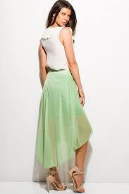 green tulle shop green tulle mesh overlay high low hem midi skirt