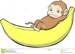 cute cartoon monkey with banana