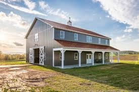 Pole Barn Roofing Two Story Pole Barn With Colonial Red Abseam Roof And Charcaol Abm