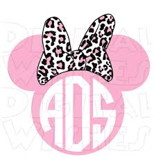 minnie mouse monogram monogram pink leopard print minnie mouse ears heads personalized