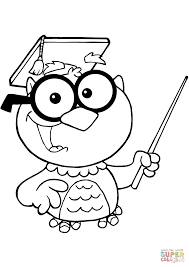 owl teacher with graduate cap and pointer coloring page free