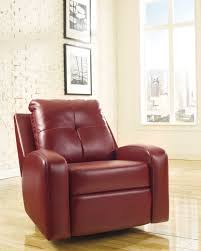 Leather Swivel Recliner Furniture Comfortable Red Leather Recliner For Excellent Living