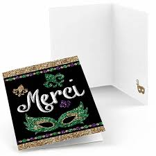 cardsadult mardi gras mardi gras masquerade party thank you cards mardi gras