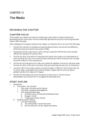 chapter 12 study guide media bias mass media