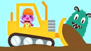 fun sago mini cartoons for kids backhoe excavator and crane