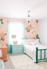 green peach kids shabby chic style with emerald green bed
