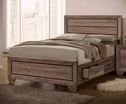 King Storage Bed Frame Washed Taupe Wood King Storage Bed By Coaster