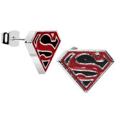 superman earrings licensed black and superman logo stud earrings bodycandy