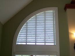 wood blind in speciality shade quarter round window speciality