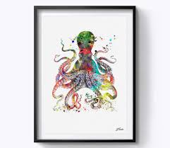 octopus decor octopus art print octopus print watercolor octopus poster wall art