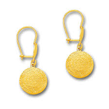 gold drop earrings minoan phaistos disk 14k solid gold drop earrings a small