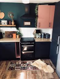 spray painting kitchen cabinets scotland transforms boring kitchen into a bold and modern