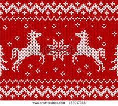 knit horses scandinavian style stock vector 153017366