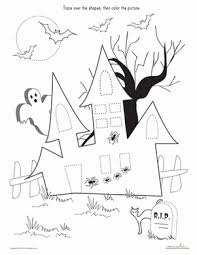 printable halloween pictures for preschoolers trace color the haunted house shapes worksheets motor skills